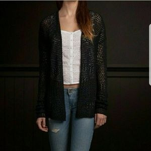 Tops - NWT Hollister Navy Open Stitched Cardigan